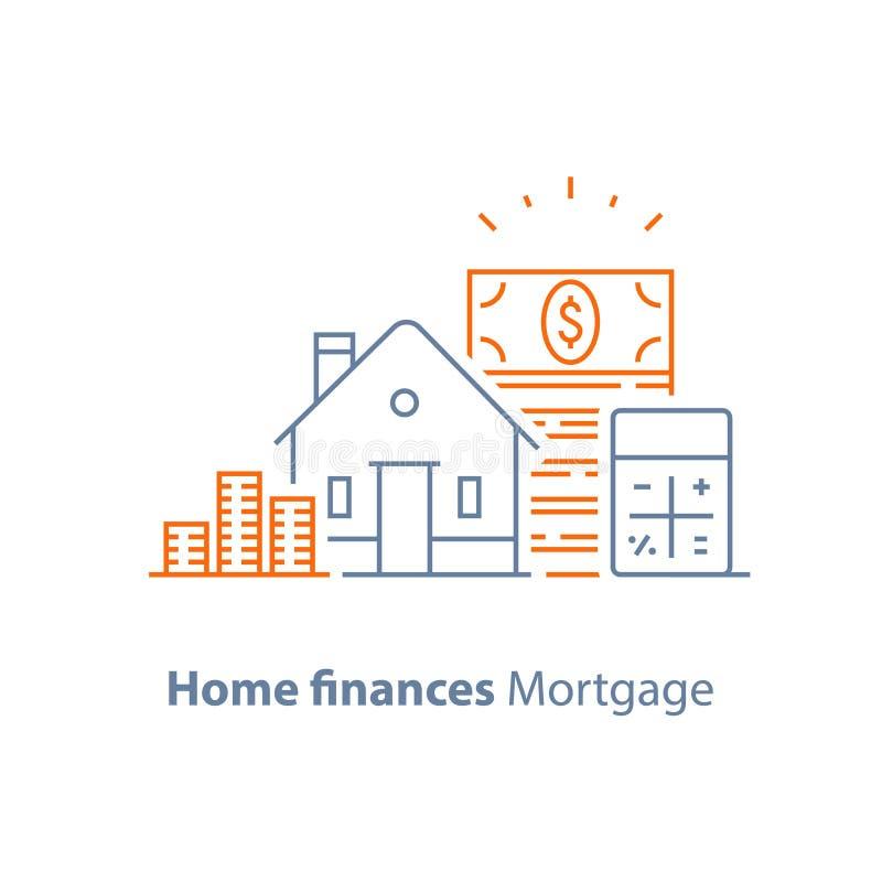 Hipoteque la señal, préstamo hipotecario, tarifa de bajo interés, línea icono de la calculadora libre illustration