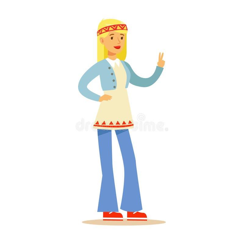 Hippie девушки одетый в классических одеждах субкультуры хиппи шестидесятых годов Woodstock в Flared джинсах иллюстрация вектора