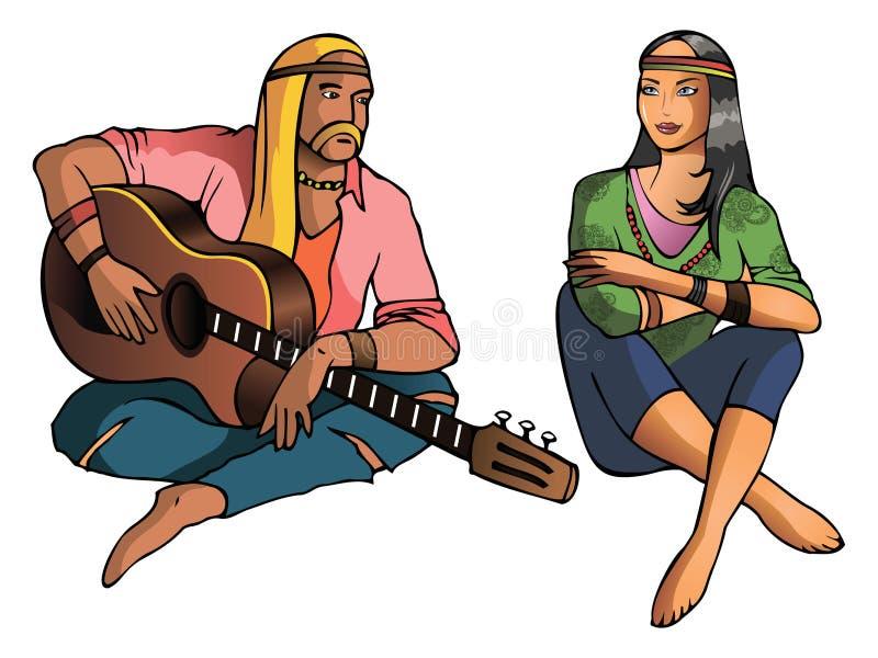 hippie vektor illustrationer