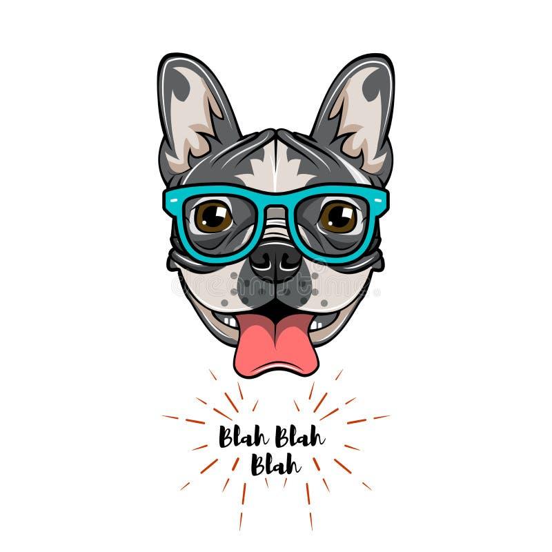 Hippie-Aussenseiter-französische Bulldogge Hundeaussenseiter Auch im corel abgehobenen Betrag stock abbildung
