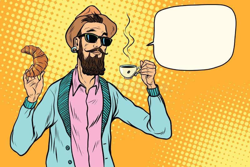 Hippie avec du café et le croissant illustration de vecteur
