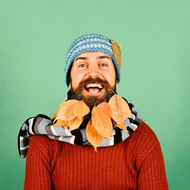 Hippie avec le visage heureux et barbe complètement des feuilles d'automne Type au raseur-coiffeur ou coiffeur Mode et beauté flo photos stock
