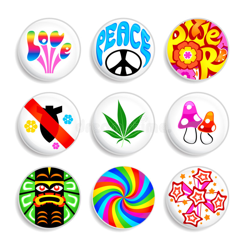 Hippie badges stock illustration