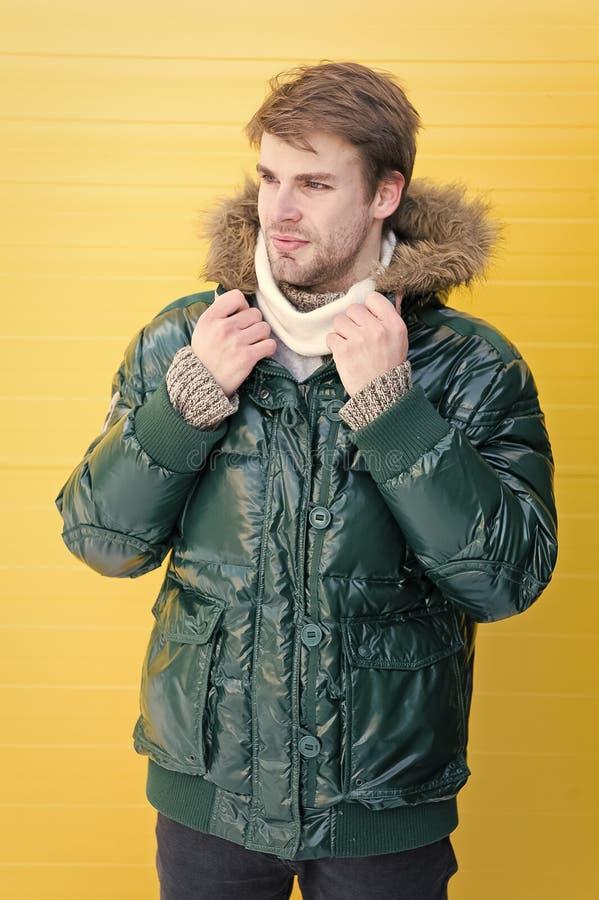 Hippie barbu d'homme utiliser la veste chaude avec le fond jaune de fourrure Le type utilisent la veste chaude avec le capot Sent photos libres de droits