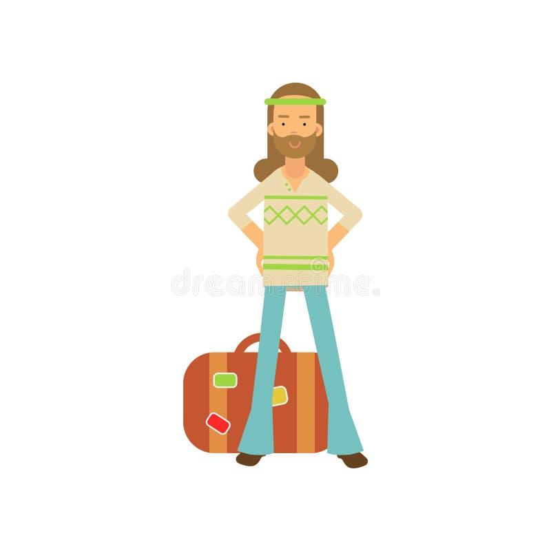 Hippie barbudo del hombre de la historieta plana que se coloca con la maleta retra cercana en jarras de los brazos Varón feliz en libre illustration