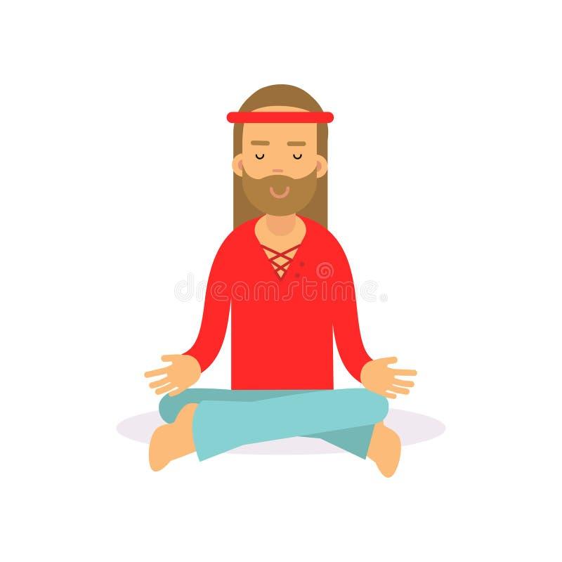 Hippie barbudo del hombre de la historieta plana que se sienta en la actitud del loto, meditando El varón con el pelo largo se vi ilustración del vector