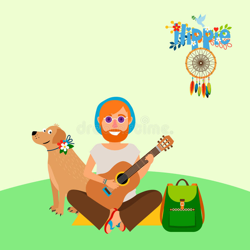 Hippie barefoot man with dog stock illustration