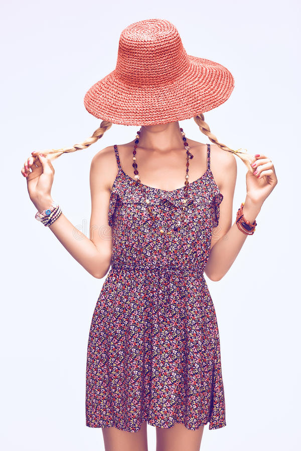 Hippie boho playful woman in hat.Relax, having fun stock images