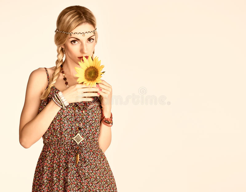 Hippie Boho woman, sunflower.Summer Fashion Outfit royalty free stock images