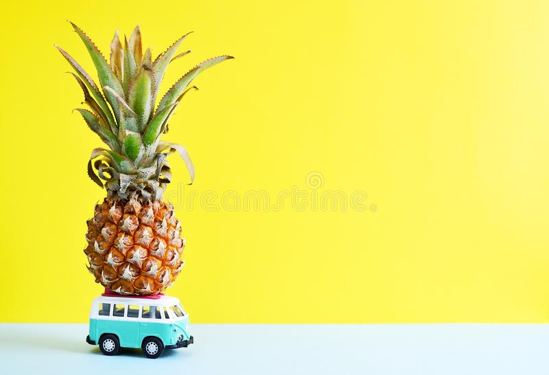 Hippie Bus with Mini Pineapple on the Roof Summer Time Concept stock photo