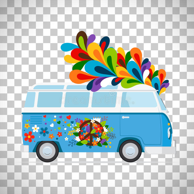 Hippie bus on transparent background stock illustration