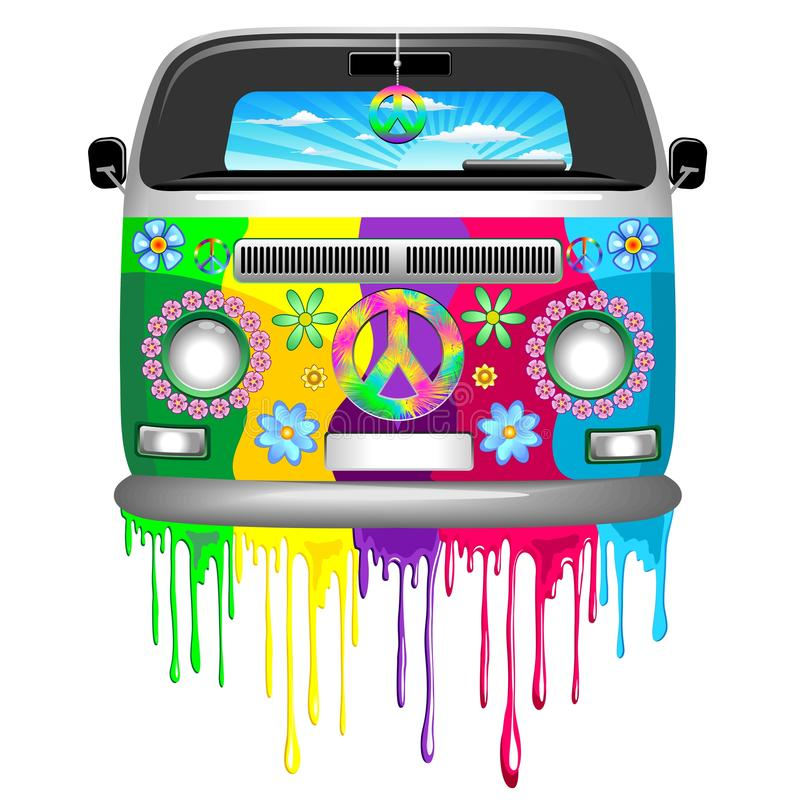 Free Hippie Bus With Dripping Rainbow Paint Groovy Retro Vechicle Vector Illustration Royalty Free Stock Photos - 138047448