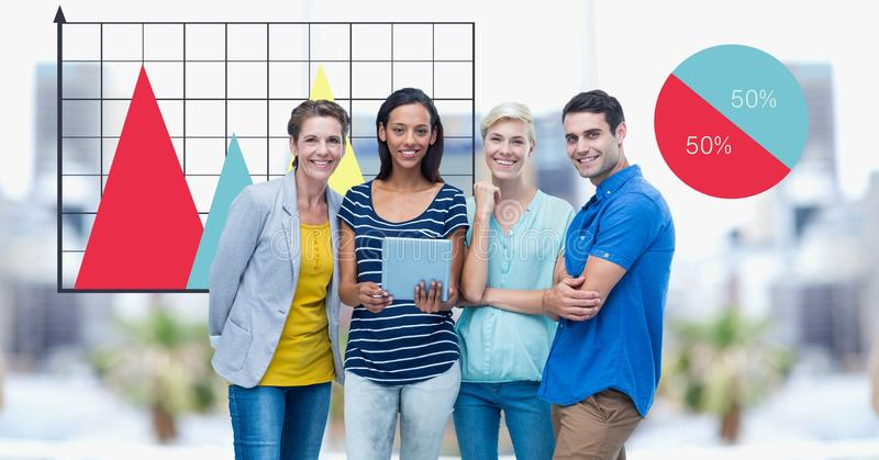 Hippie business colleagues smiling against graphs stock photography