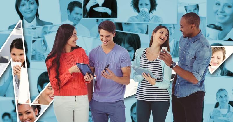 Hippie business people using technologies against graph royalty free stock image