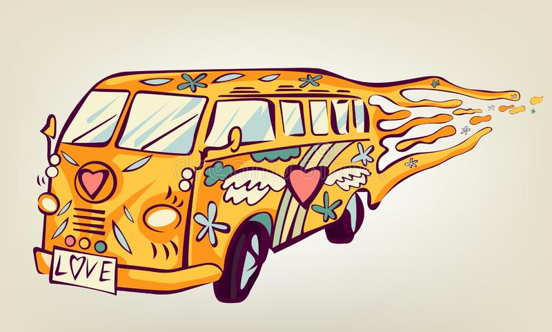 Hippie car, mini van. Isolated object. Psychedelic print concept stock illustration