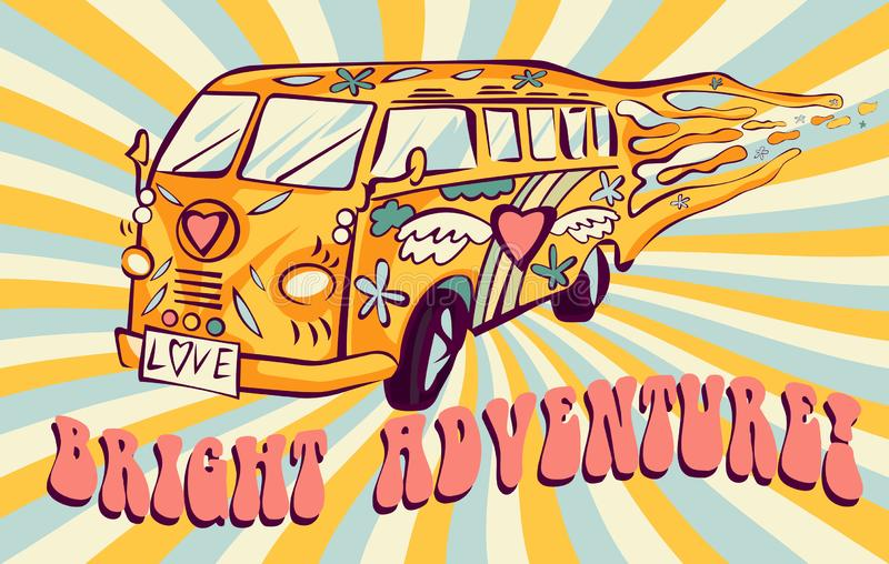 Hippie car, mini van on rays background. Bright adventure poster. Psychedelic concept.  stock illustration
