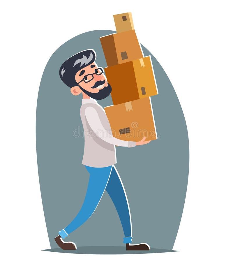 Hippie-Charakterkarikaturdesign-Schablonenvektor des Büroverlegungskastenfrachtfrachtladenlieferungsversandes männlicher stock abbildung