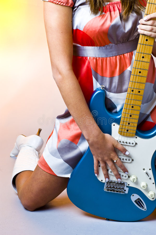 Hippie Chick Guitar royalty free stock photos