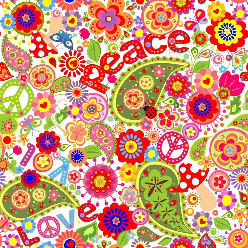 Hippie Childish Colorful Wallpaper With Mushrooms And