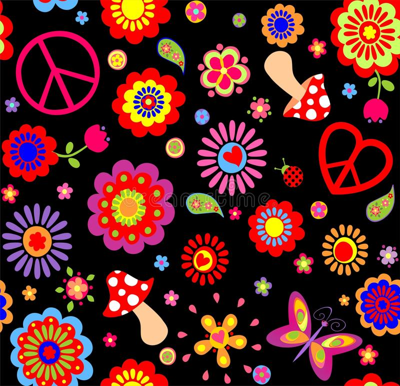 Hippie Childish Funny Wallpaper With Abstract Flowers Mushrooms And