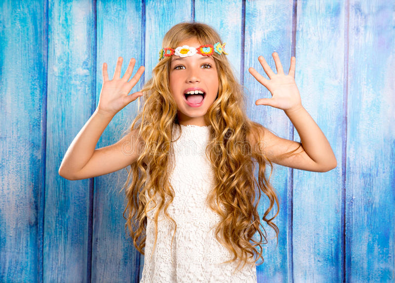 Download Hippie Children Girl Excited Open Mouth With Raised Hands Stock Image - Image: 32315961