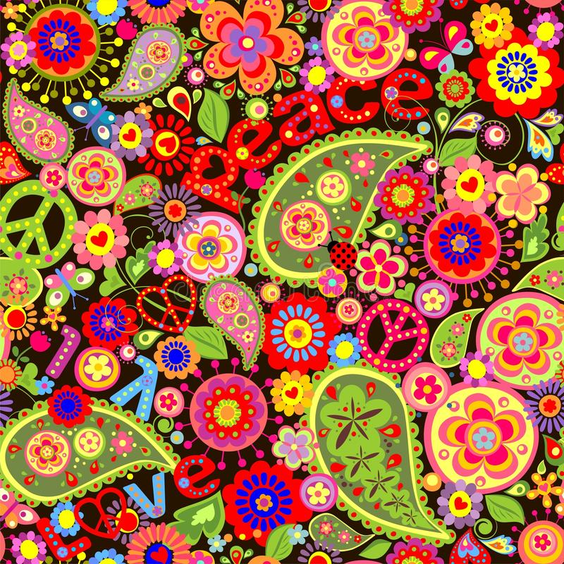 Free Hippie Colorful Floral Wallpaper Royalty Free Stock Photography - 88738227