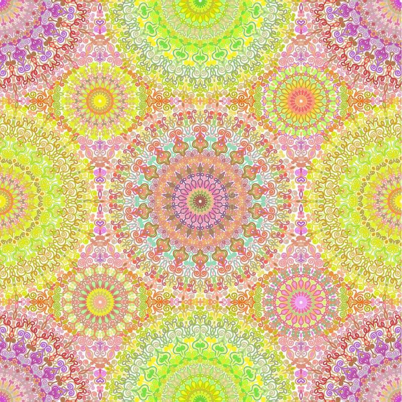 Hippie colorido Mandala Seamless Pattern stock de ilustración