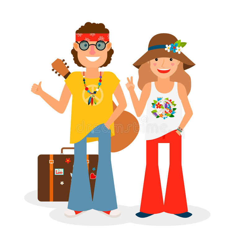 Hippie Couple Hitchhiking Vector Illustration vector illustration