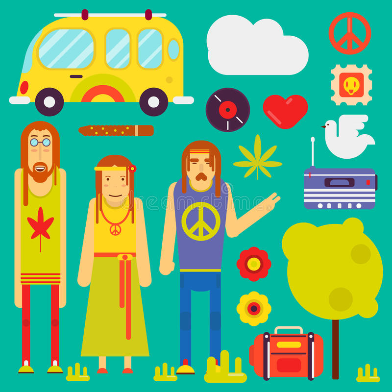 Hippie culture style vector characters and symbols. Hippie culture style concept. Vector hippy characters and attributes symbols of peace or pacific sign vector illustration