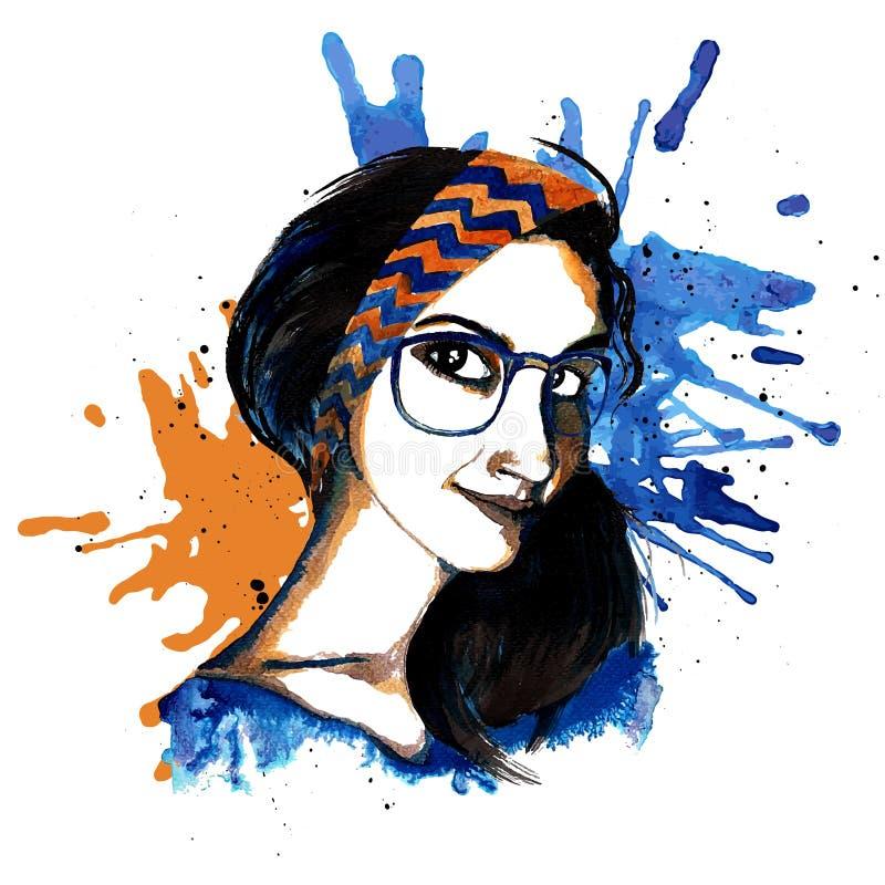 Hippie d'encre de fille illustration stock