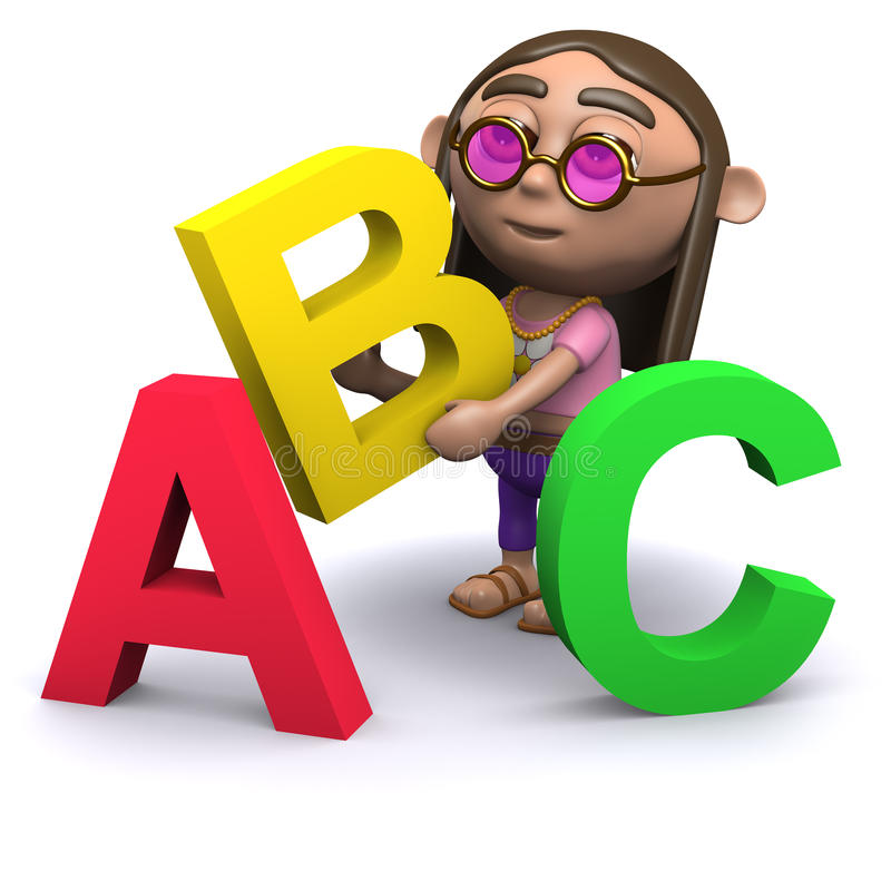 Hippie 3d lernt das Alphabet stock abbildung