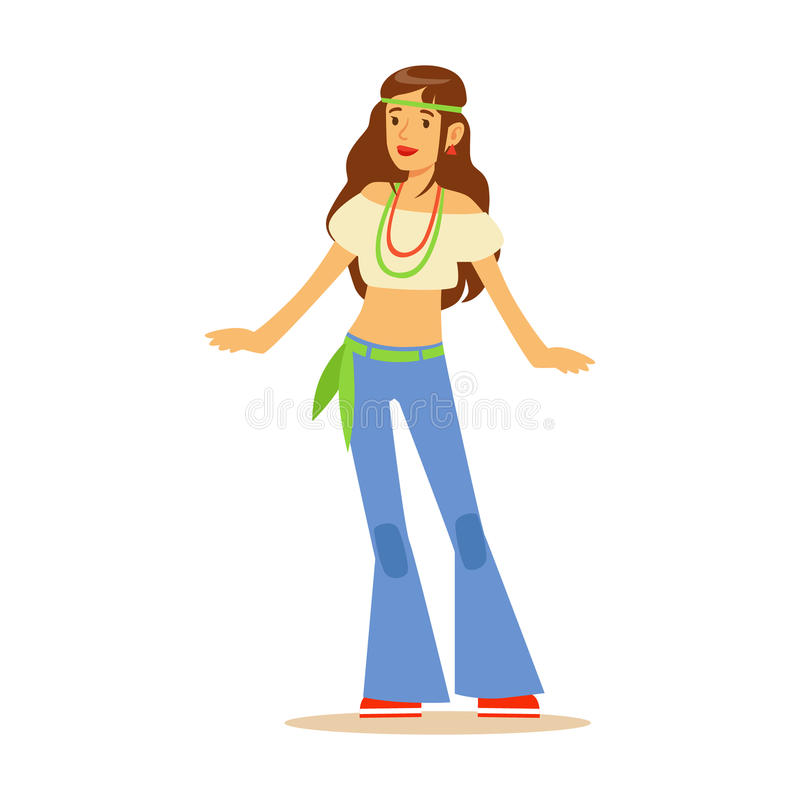 Hippie da menina vestida na roupa clássica da subcultura do hippy dos anos sessenta de Woodstock com estilo aciganado e joia ilustração stock