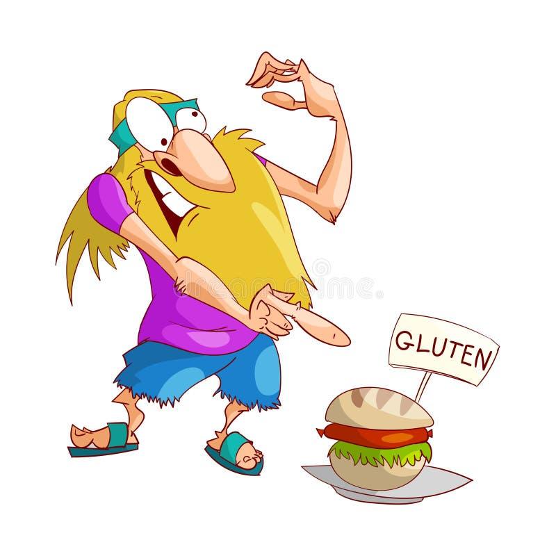 Hippie de bande dessinée contrariée avec du gluten illustration stock