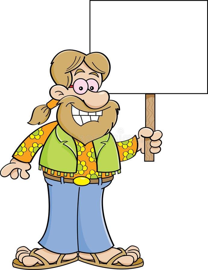 Hippie de la historieta que lleva a cabo una muestra libre illustration