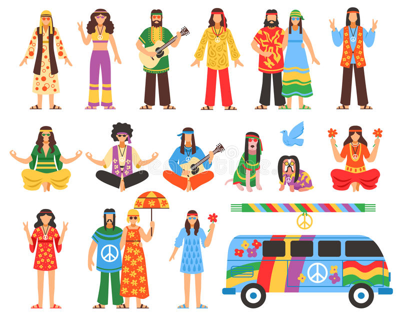 Hippie Decorative Icons Set vector illustration