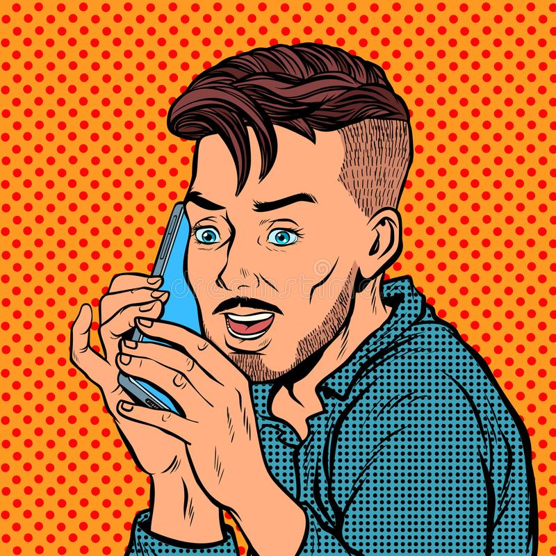 Hippie, der am Telefon spricht lizenzfreie abbildung