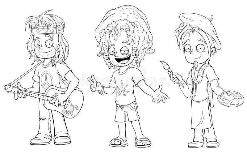 Hippie Dos Desenhos Animados Com Grupo Jamaicano Do Vetor Do