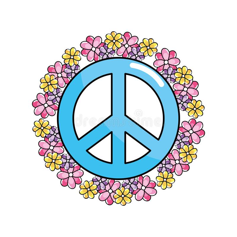 Hippie Emblem Symbol Of Peace And Love Stock Vector Illustration