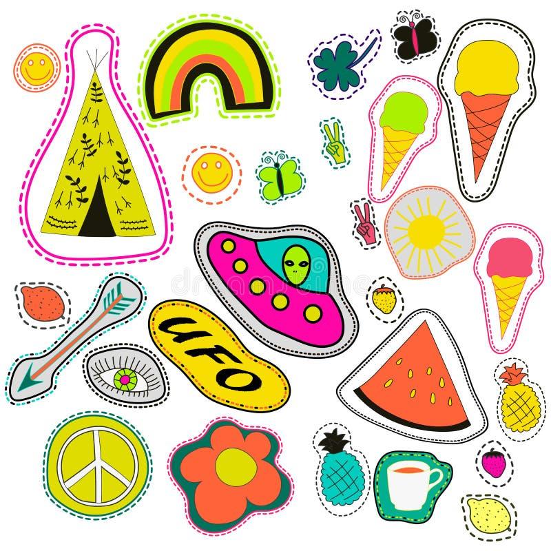 Hippie embroidery neon hand drawn patches collection. vector set illustration coffee, arrow, wigwam, rainbow, pineapple. Watermelon, UFO, sun, eye, ice cream royalty free illustration