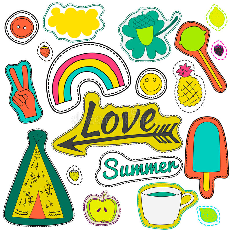 Hippie embroidery neon summer patches collection. Set illustration coffee, love, arrow, wigwam, rainbow, pineapple, summer, cloud, button for stickers patches stock illustration