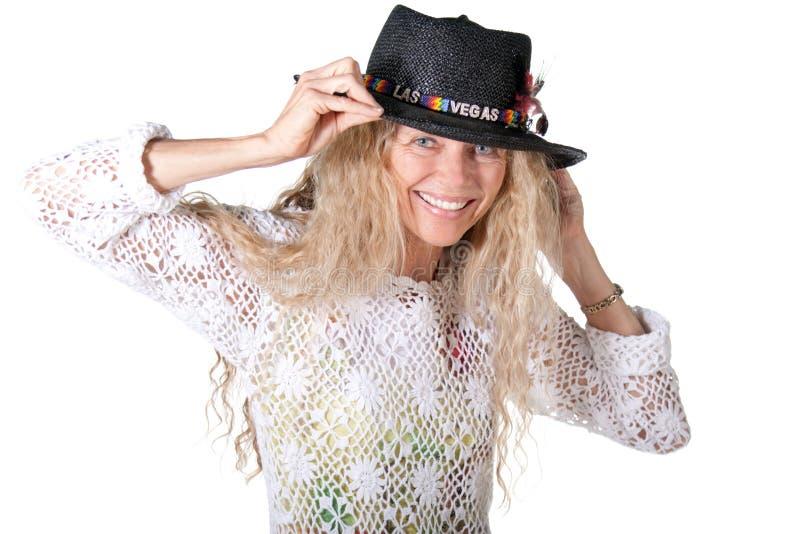 Hippie femal met de hoed van lasvegas stock foto