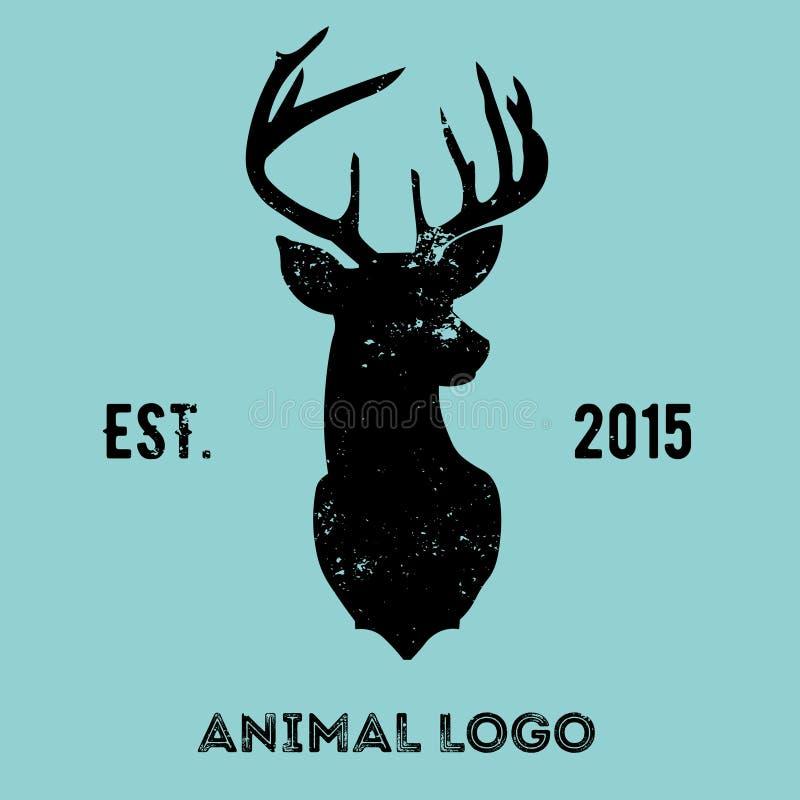 Hippie-Firmenzeichen mit Kopf von Rotwild stockfotos