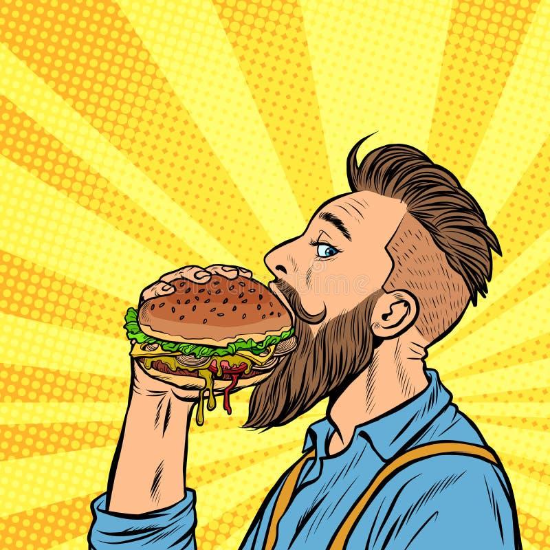Hippie-Fleisch fressender Burger lizenzfreie abbildung