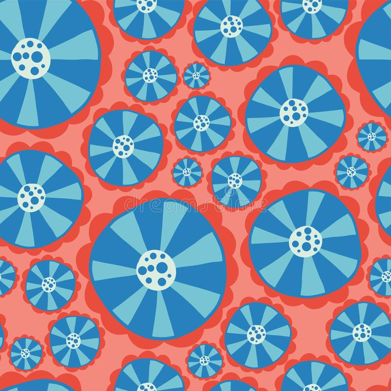 Hippie flowers. Flower power seamless vector background. Blue and red abstract flowers on a pink background. Retro floral 1970s vector illustration