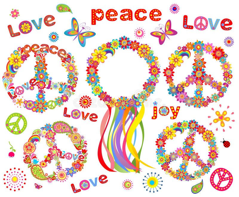 Hippie flowers wreath. Collection of Hippie symbolic and flowers wreath royalty free illustration