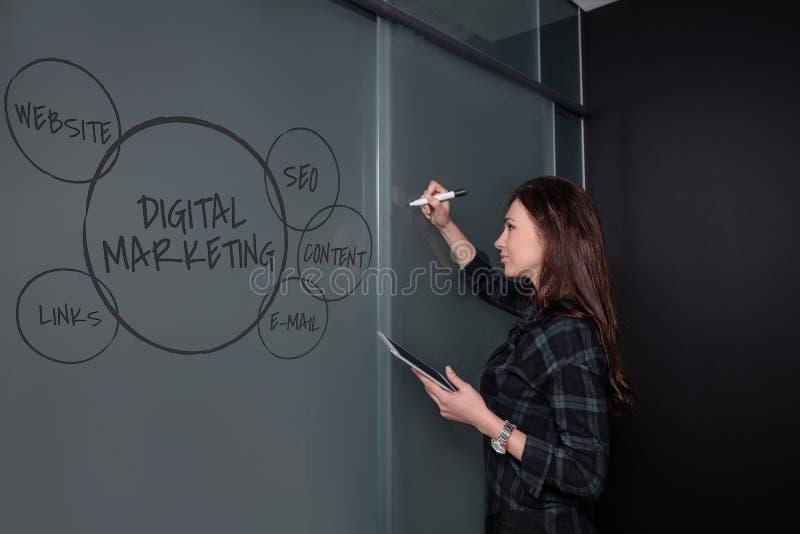 Hippie-Freiberuflerfrau, die eine Tablette und eine Stellung nahe einer Geschäftsideenskizze auf Tafel hält stockbilder