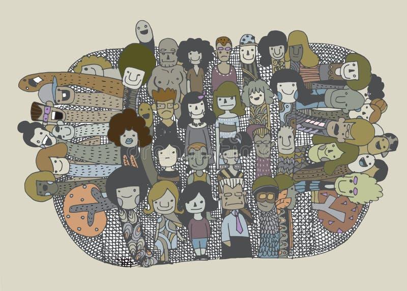 Hippie-Gekritzel-Leute-Collagen-Hintergrund stock abbildung