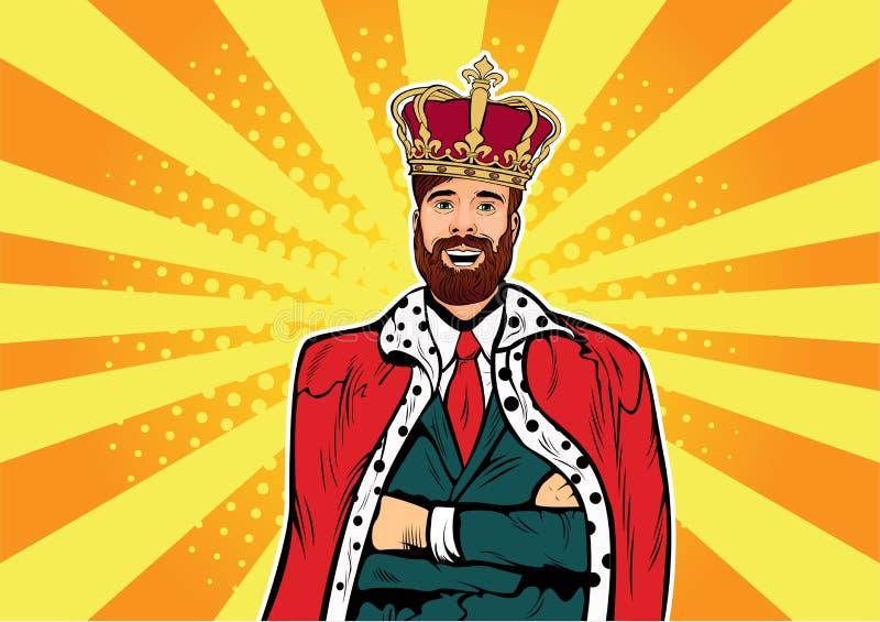 Hippie-Geschäftskönig Geschäftsmann mit Bart- und Kronenpop-arten-Illustration Reihe stehende Tabletten lizenzfreie abbildung
