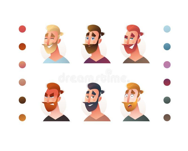 Hippie-Gesichtsmannschöpfer für Konzeptdesign Geschäftsmanncharakter-Schaffungssatz Mannavatara-Profil Blogger Überlagert, einfac stock abbildung