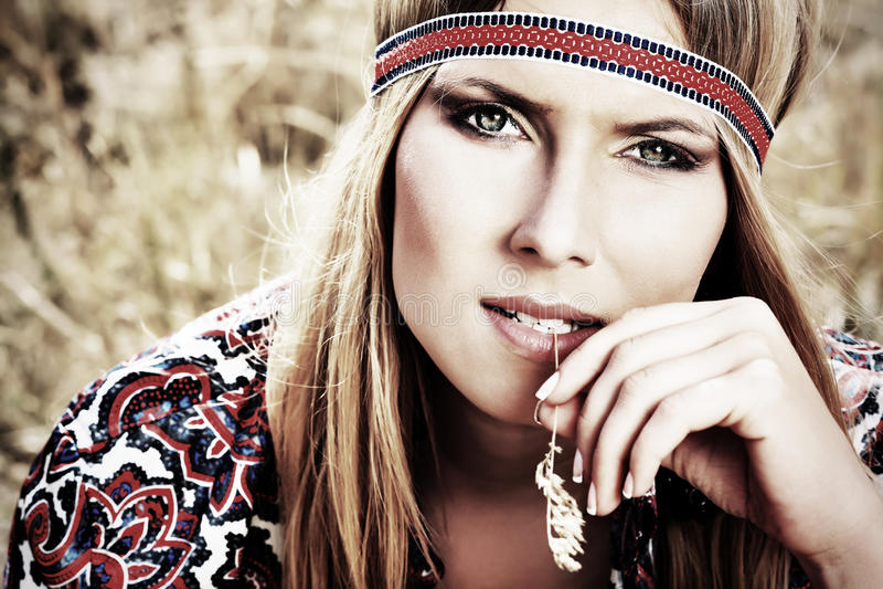 Hippie girl royalty free stock photo
